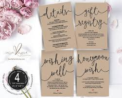 Gift Registry Template Wedding Insert Cards Pdf Template Instant Download Gift
