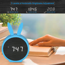 kids wooden led digital alarm clock usb battery operated sound control clock with year month date time temperature display 3 alarms
