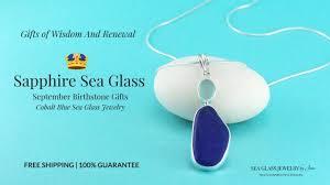 cobalt blue aqua sea glass pendant
