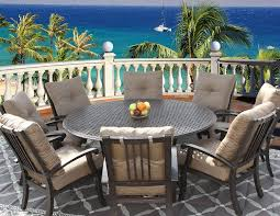 barbados cushion outdoor patio 9pc dining set for 8 person with 71 round series 5000 table antique bronze finish