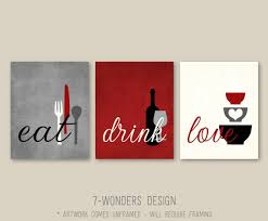 kitchen wall art print set eat drink love rustic red on food and drink wall art with kitchen wall art print set eat drink love rustic red arelisapril