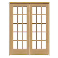Shop ReliaBilt 15-Lite French Unfinished Wood Solid Core Clear Glass ...