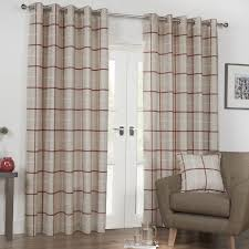 kendal e red luxury lined eyelet check curtains pair