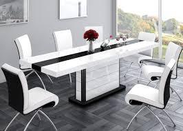 Design Esstisch He 555 Weiß Schwarz Hochglanz Ausziehbar 160 210