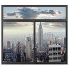 3d Wandtattoo Fenster Schwarz Sonnenaufgang In New York