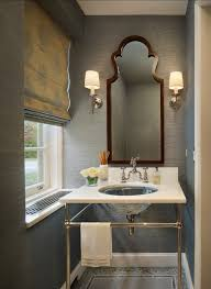 Powder Room Wallpaper Console Sink Washstand Vanity Bathroom Design Roman Luxury