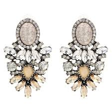 gold crystal diamante statement earrings