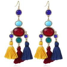 faux gem oval tassel vintage chandelier earrings colormix