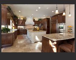 dark cabinets kitchen. Brilliant Cabinets Richly Detailed Ushaped Kitchen Centers Dark Wood Cabinetry Around Large  White Painted Island With Beige Marble Counters All Around In Dark Cabinets Kitchen N