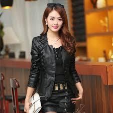 2017 autumn leather jacket women casual long sleeve short coat plus size pu jacketjackets