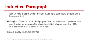 types of paragraphs inductive paragraph