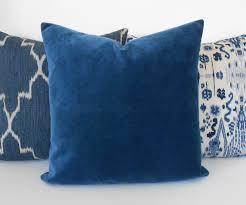 indigo blue velvet decorative pillow cover accent pillow