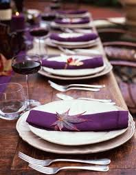 View in gallery Thanksgiving table setting idea in purple and white