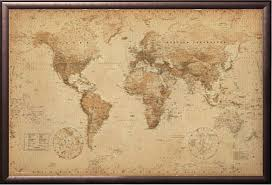 details about world map antique style poster print in premium rust wood frame 24x36