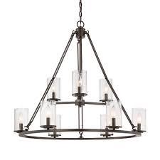 quoizel buchanan 33 in 9 light western bronze rustic seeded glass tiered chandelier