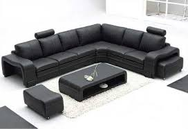 3330 black sectional sofa set with 2 footrests and coffee table