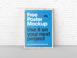 poster psd poster leaning with wall psd mockup mockupsq