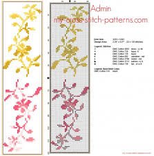 Free Cross Stitch Bookmark With Small Yellow And Pink