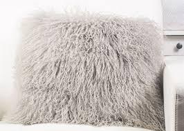 16 x 16 oversized tibetan mongolian lamb throw pillows light grey light weight for travel