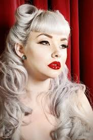 betty bangs woman with long platinum blonde hair victory rolls curls and bangs 140 rockabilly hair ideas inspired from the 50 s