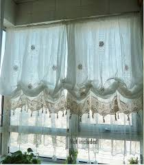 shabby chic drawnwork balloon curtain pull up curtain hand crochet lace trim french pinch pleat d dry r002
