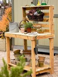 Build A Garden Potting Work Table For FREE Out Of Old Wood Pallets Plans For A Potting Bench