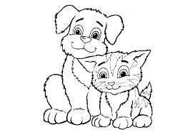 Small Picture Cat And Dog Coloring Pages Miakenasnet