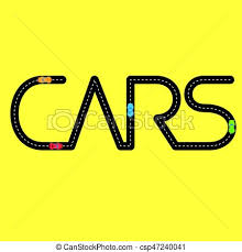 Word Cars Road With Automobiles In The Form Of Word Cars Black Asphalt Road
