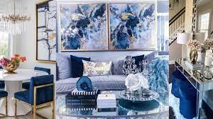glam blue gold bedroom living room