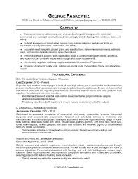 Sample resume for a carpenter
