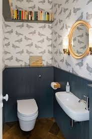 tiny bathroom with cool wallpaper