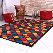 rug multi color diamonds red moroccan trellis diamond