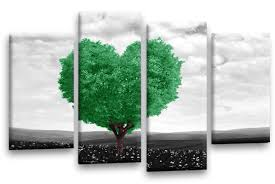 >love heart tree canvas wall art green grey black white abstract love heart tree canvas wall art multi panel