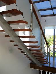 An example of an open stair design acting as a geometric design feature in  this modern