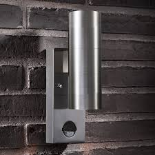 nordlux tin twin outdoor up down wall light with pir sensor stainless steel lighting direct