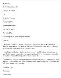sample nurse resignation letternurse resignation letter