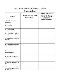 The Checks And Balances System A Worksheet Graphic