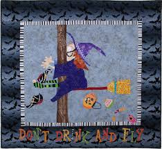 Quilt Inspiration: Fun Halloween quilts: Don't Drink and Fly & According to the quilt caption, Hazel was distracted either by her iced  Venti® nonfat seven pump sugar free vanilla latte, or, ... Adamdwight.com