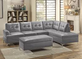 degah grey leather modern sectional sofa set jpg