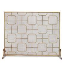 madison single panel fireplace screen brass