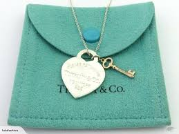 authentic tiffany co silver return to tiffany heart tag rubedo key necklace