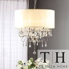 Silver Mist Hanging Crystal Drum Shade Chandelier by iNSPIRE Q Classic by  iNSPIRE Q