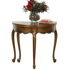 oak half round demilune vintage console opens to round game table harp gallery antique furniture ruby lane