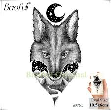 Baofuli Flash Lion акварель фокс луна татуировки леопардовый кит волк временная наклейка