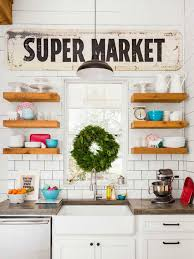joanna gaines floating shelves in her farmhouse kitchen the harper house