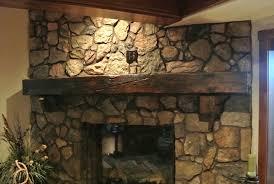 fireplace mantel decor with mountain stone