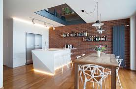 modern minimalist kitchen and dining room design with brick wall idea