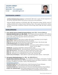 resume of jaison varkey qa qc inspector welding coating offshore oi .