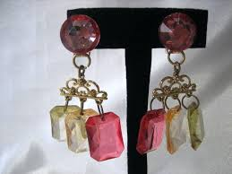 full size of clip on gold chandelier earrings vintage couture tone red and yellow stones uk