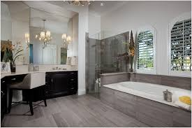 wood tile flooring in bathroom. Relaxing Soaker Tub For Bathroom Design Ideas: Striking Tile Shower With Glass Enclosure And Wood Flooring In A